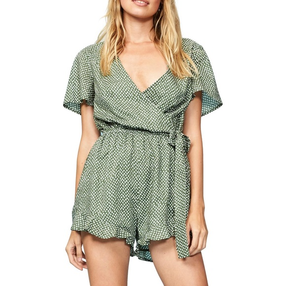 1f76b152135cd MINKPINK Pants | Confetti Wrap Playsuit Romper Green Nwt | Poshmark